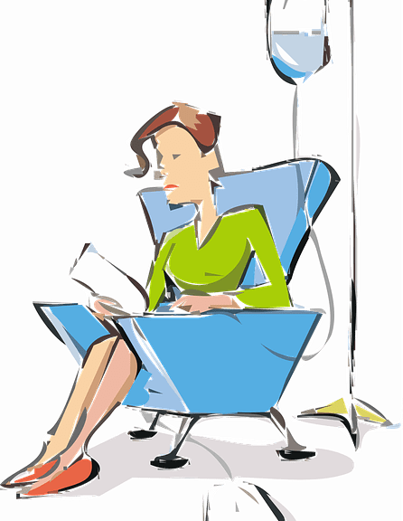 clipart of a woman receiving medication from an IV