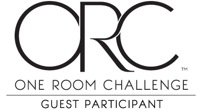 better home and gardens one room challenge logo in black and white