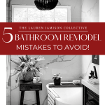 5 Bathroom Model Mistakes to Avoid, marble look ceramic tile bathroom with freestanding tub, fern in cement planter on wooden side table, black wooden beaded chandelier