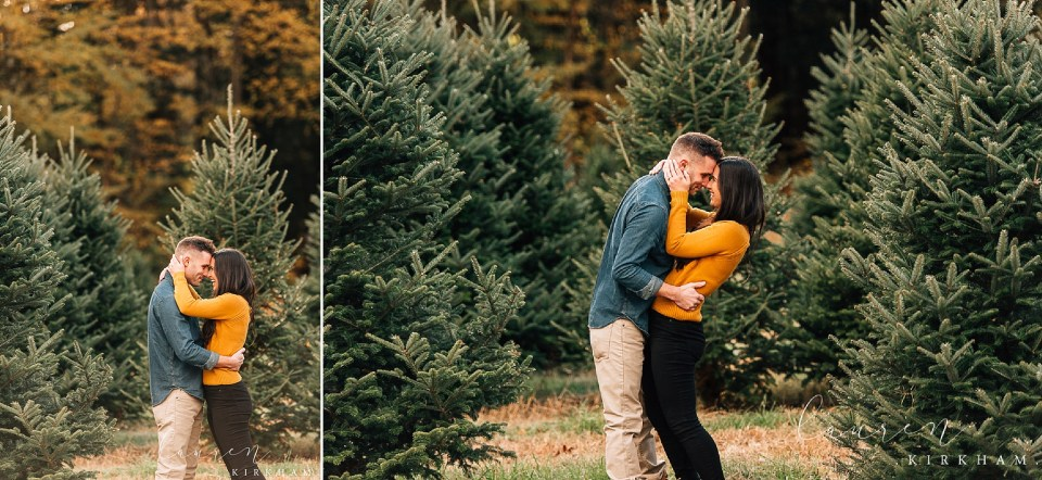 Couples session at Christmas tree farm with Saratoga Springs NY engagement photographer Lauren Kirkham Photography