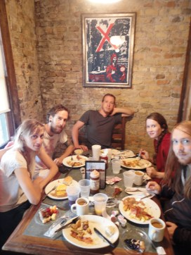 Eating big southern brunch in Austin, TX after a gruelling night drive.