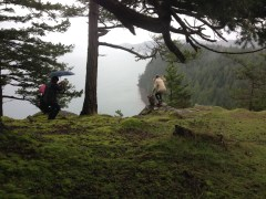 Filming a music video for Hibernate on Mt. Menzies, Pender Island.