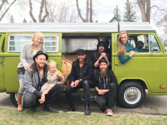 The gang on our spring tour featuring Travis and Mikaela's Westy.
