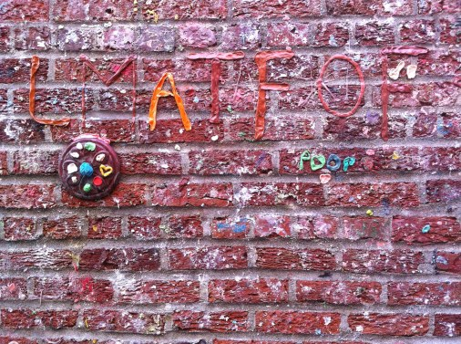 Leaving our mark on the gum wall in Seattle, WA.