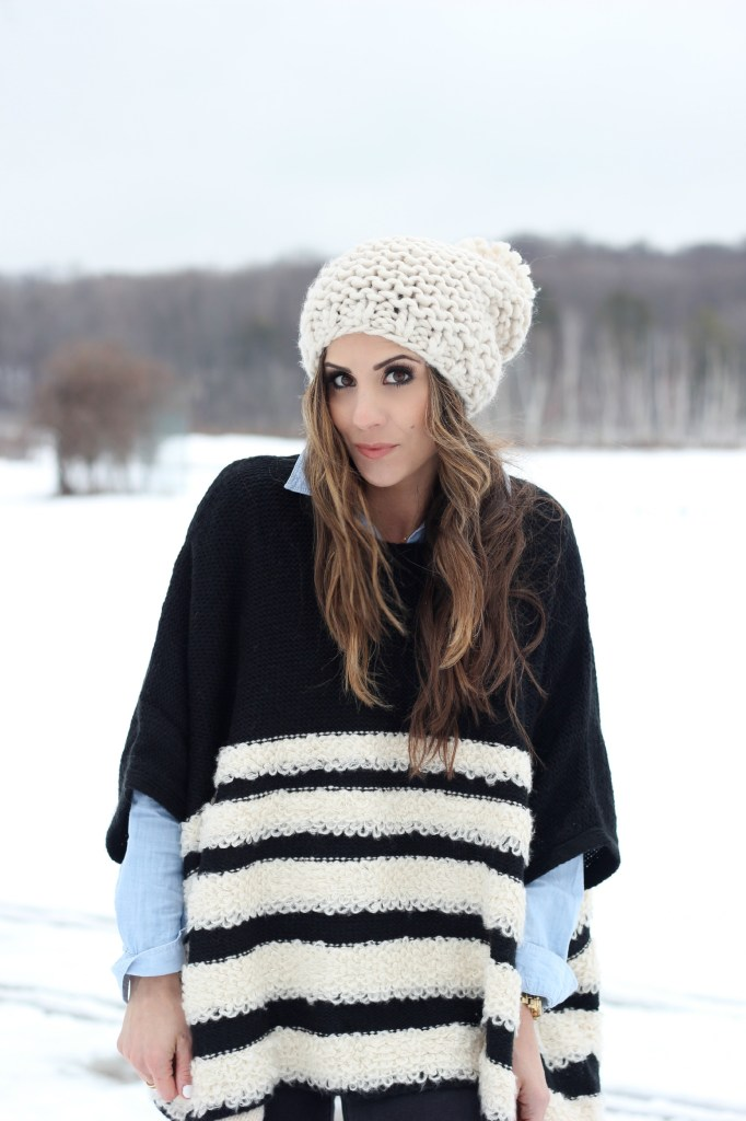 Striped Poncho, Winter Style, Hunter Boots