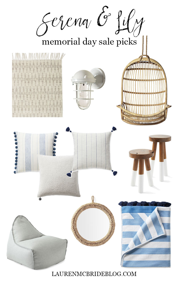 Connecticut life and style blogger Lauren McBride shares her Serena & Lily Memorial Day Sale picks including pillows, mirrors, beach towels, and more.