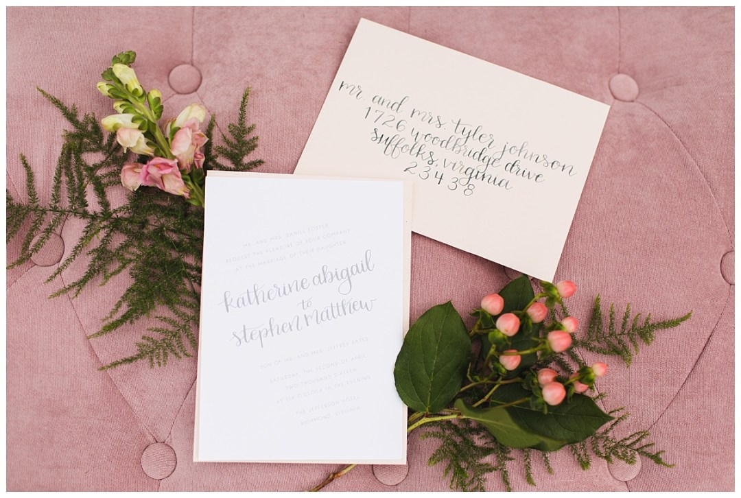 pink and grey calligraphy modern southern wedding invitations