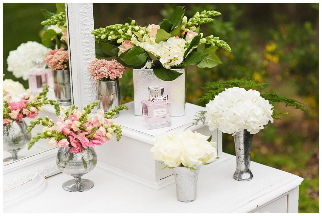 dior vanity hydrangeas and roses