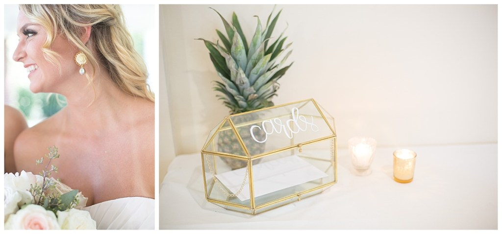 bridesmaid calligraphy card box with pineapple