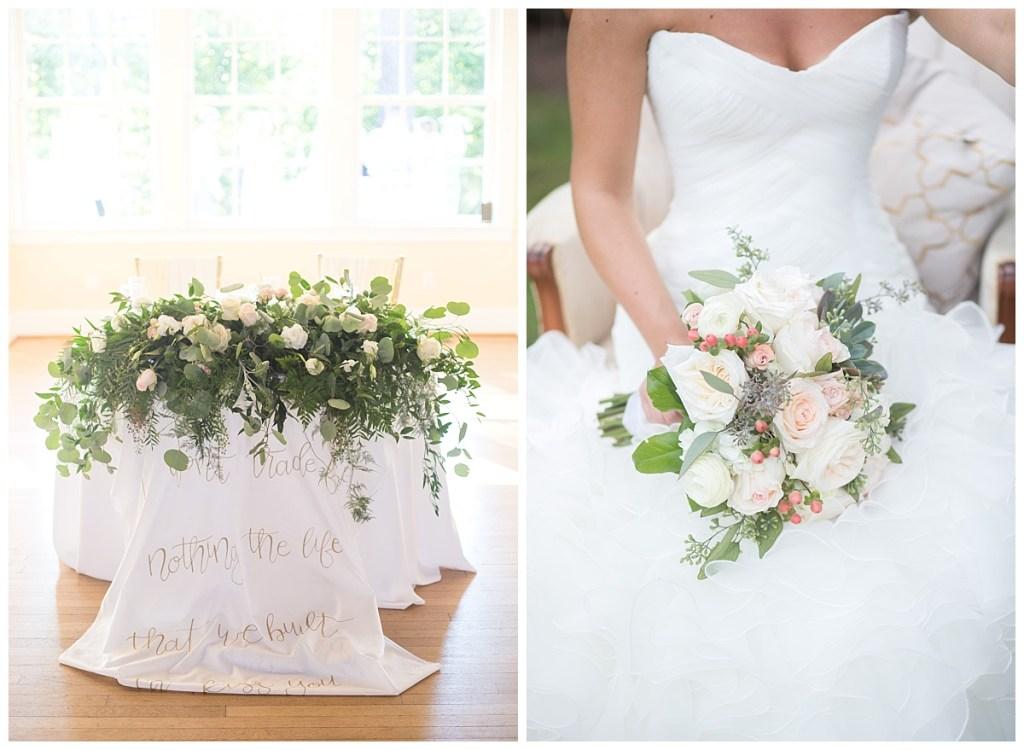 calligraphy table linen bouquet