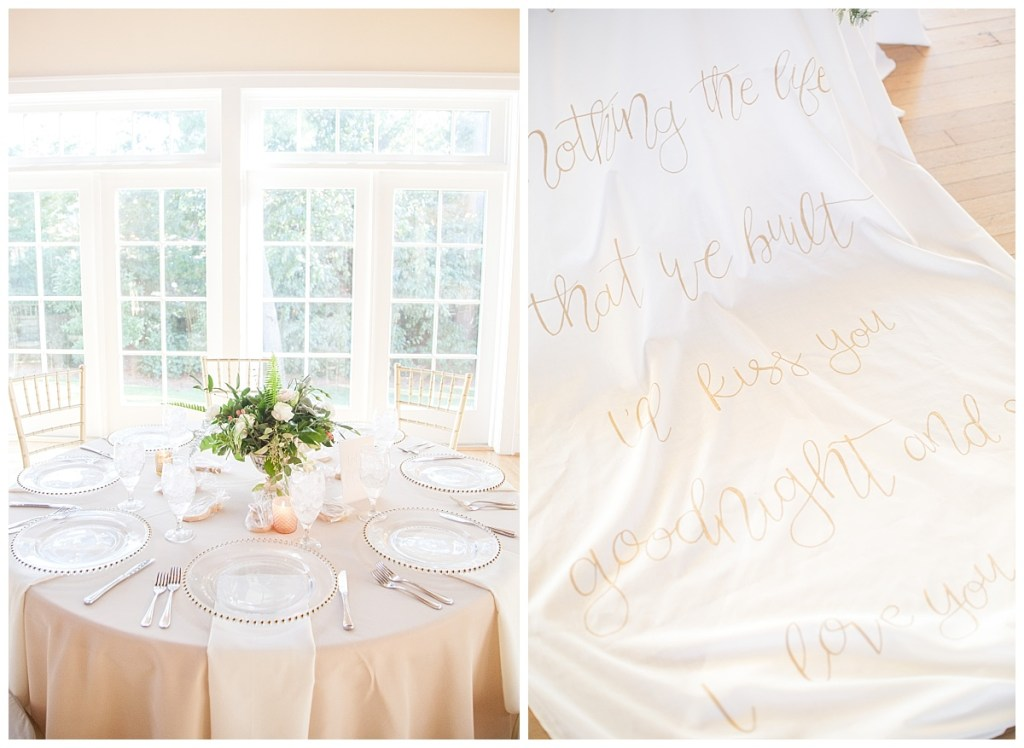 gold table setting calligraphy table linen