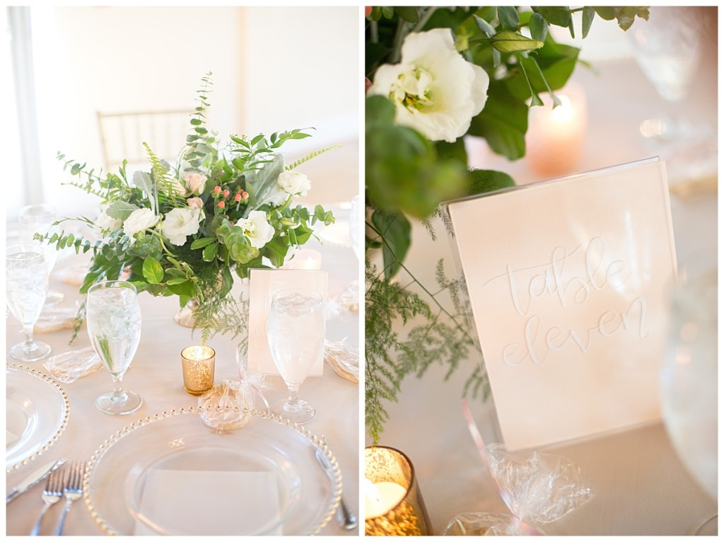 pink gold and white table numbers