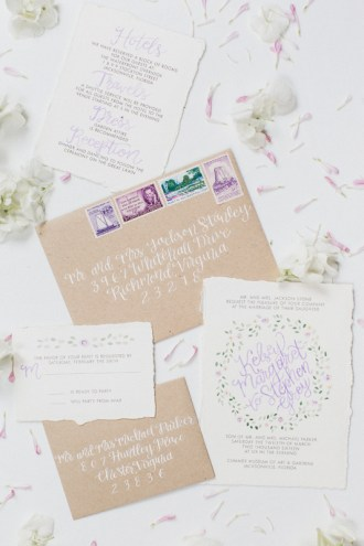 purple-green-floral-watercolor-invitation-calligraphy-kraft-vintage-stamps-envelope-2