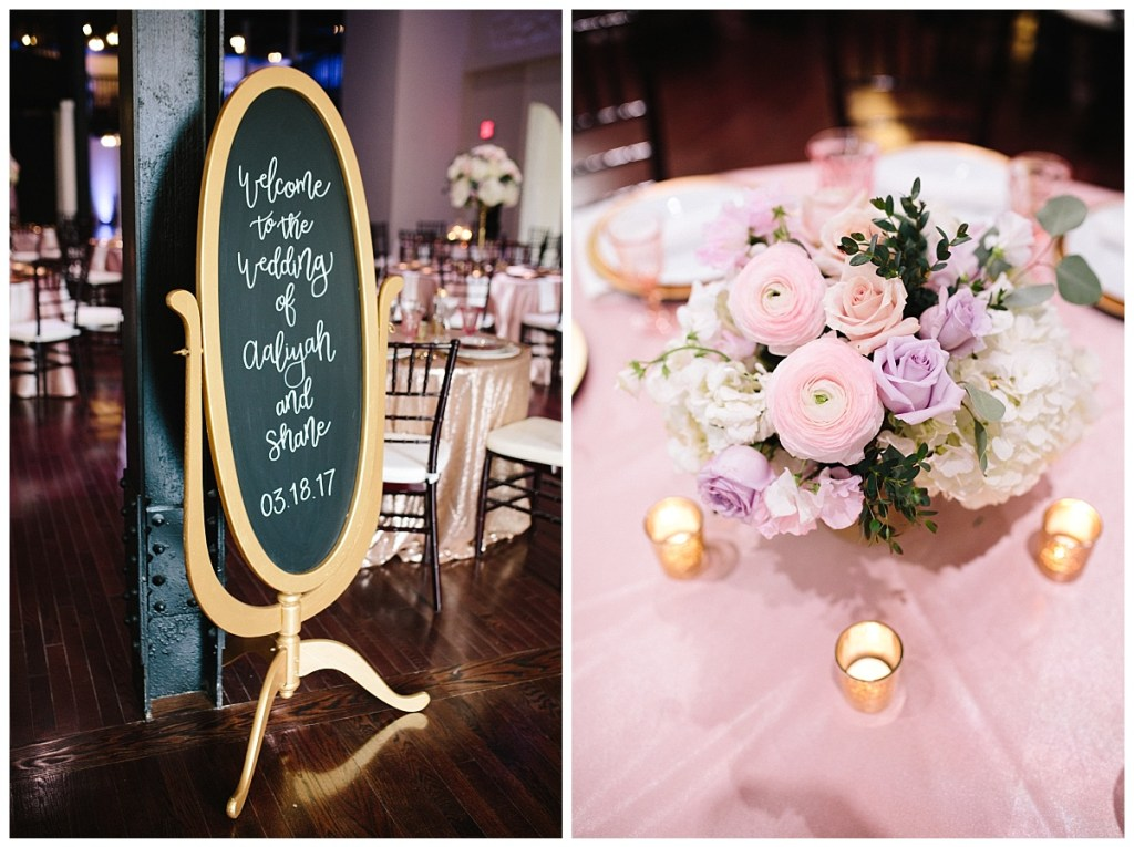 calligraphy-chalkboard-wedding-sign-pink-gold-table-setting