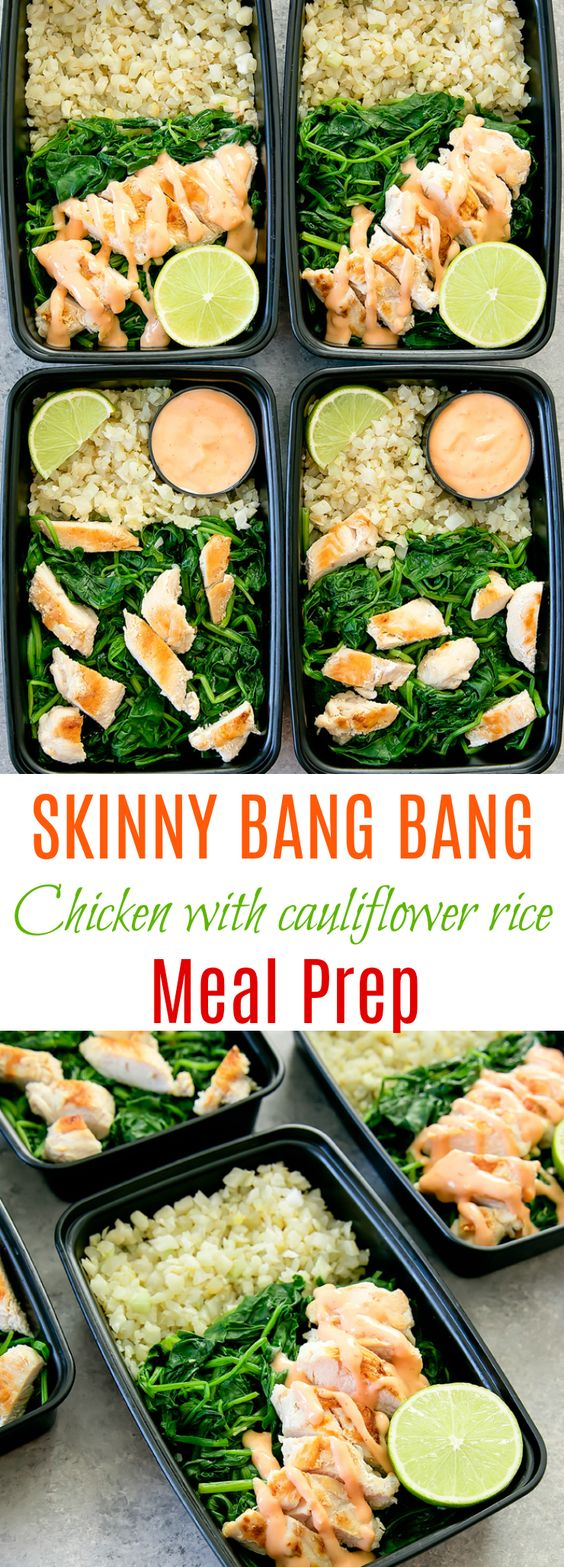 Seared chicken with sauteed spinach served with cauliflower rice and drizzled with a skinny version of bang bang sauce. It's a low carb, easy meal that can be made ahead of time for your weekly meal prep.