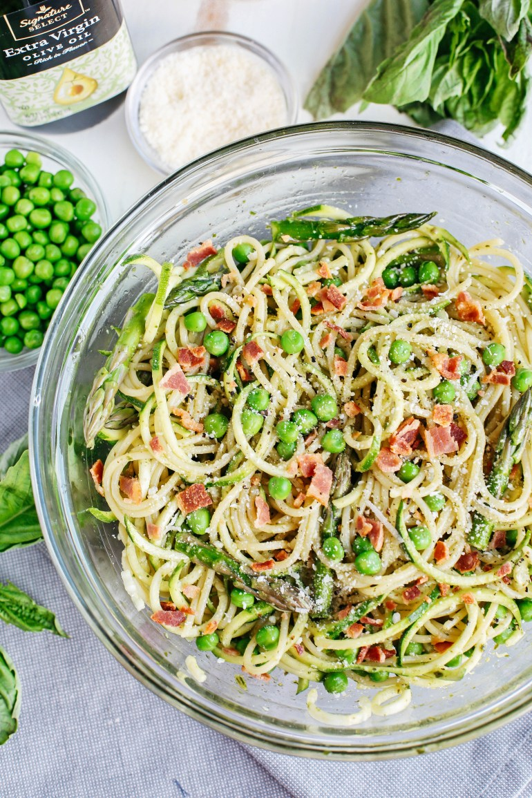 This pasta dish is good, loaded with veggies & bursting with flavor. Definitely a lighter take on the typical mayo laden pasta side dish.