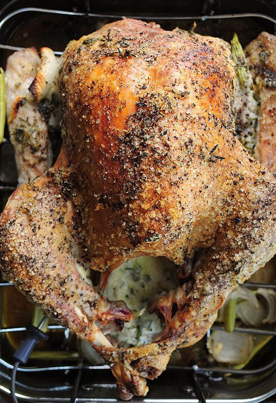 Mayo Roasted Turkey - Can't have a holiday recipe roundup without the turkey! I was a little hesitant to make this one - I'm not the biggest fan of mayo but the reviews sold me. I made this for my family for Thanksgiving last year and let me tell you - we have NEVER had a better turkey! Super moist, easy and so flavorful - I'd bet this would be a hit with your family too!