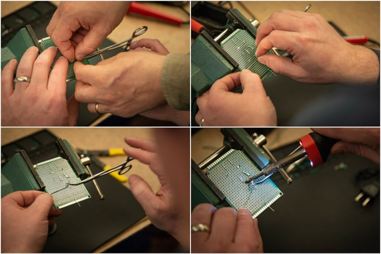 A grid of photos shows the process of landmarking using forceps. Clockwise: the instructor helps an attendee use locking forceps to landmark where to put the tip of the soldering iron, the attendee lines the end of the solder up with the end of the forceps, the attendee uses the soldering iron tip to feel for where the end of the solder lines up with the forceps.