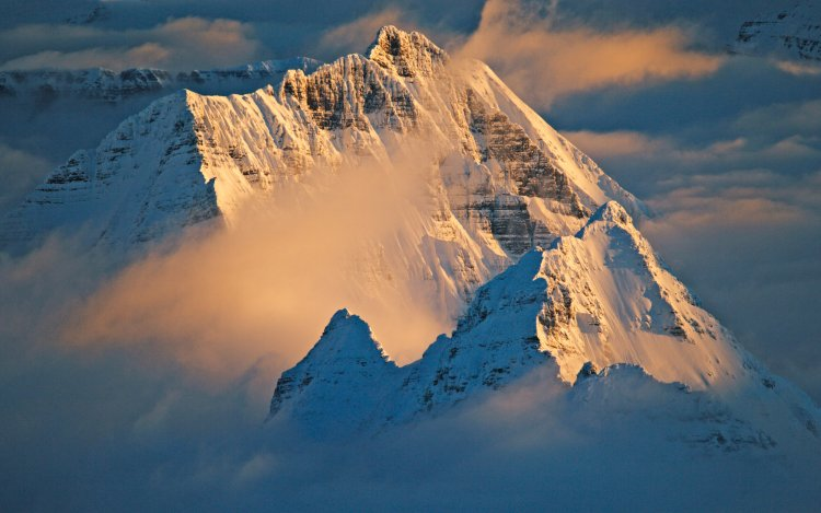A snow-capped mountain top is surrounded by mist.