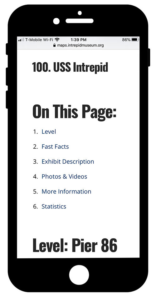 """Mobile guide on the iPhone with a heading 1 that reads """"100. USS Intrepid"""", a heading 2 that reads """"On this Page"""" with a table of contents list: Level, Fast Facts, Exhibit Description, Photos & Videos, More Information, Statistics"""