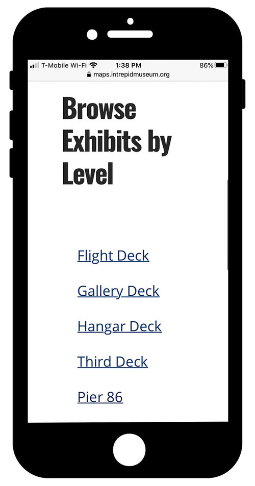 """Mobile guide on the iPhone with a heading 2 that reads """"Browse Exhibits by Level"""" with a list of link that reads """"Flight Deck, Gallery Deck, Hangar Deck, Third Deck, and Pier 86"""""""