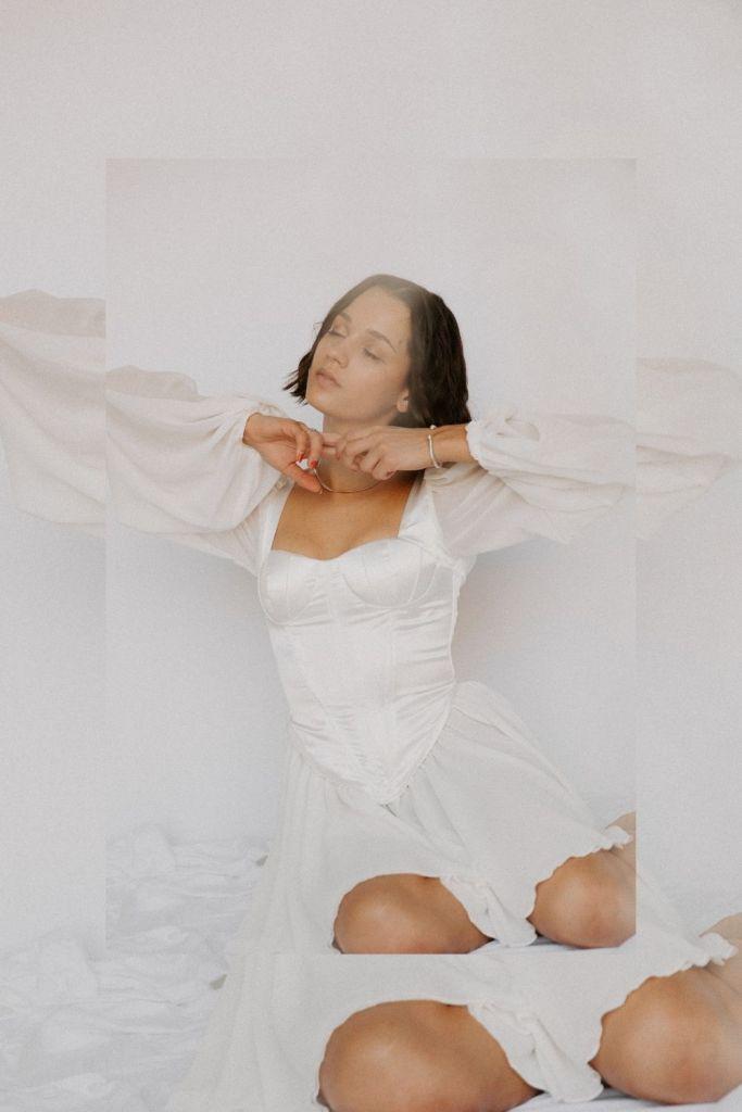 SHEIN Corset White Dress Pink Valentine's Day Photoshoot Inspiration Ideas