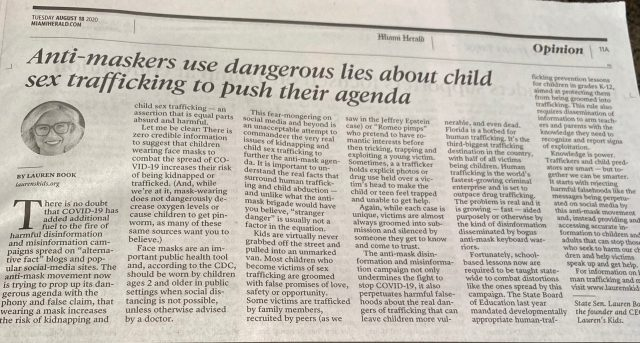 Anti-maskers use dangerous lies about child sex trafficking to push their agenda