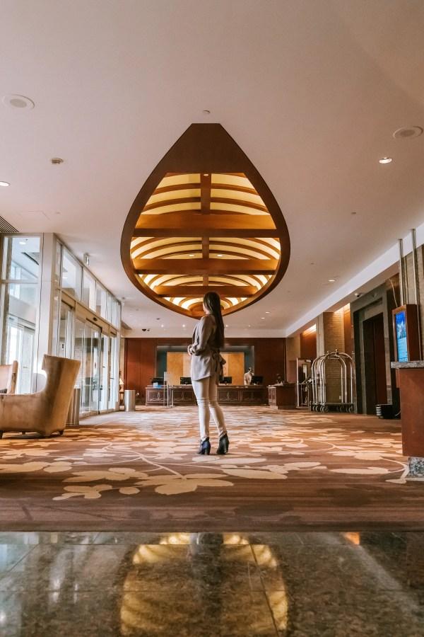Hyatt Regency Calgary - Canada's history in lobby