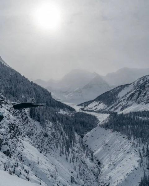 Columbia Icefields skywalk view winter