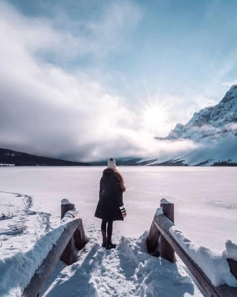 Bow Lake, Banff frozen snow