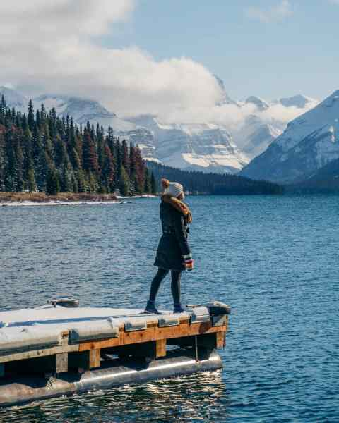 Maligne Lake, Jasper on a sunny day, moody, shot from boat dock