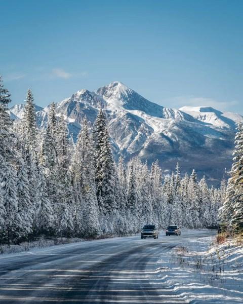 Maligne Lake Road, Jasper, winter, October, sunny and snowy