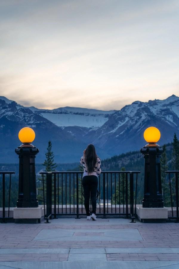 Fairmont Banff Springs outdoor terrace sunrise view