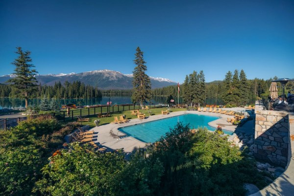 Fairmont Jasper Park Lodge outdoor pool view of Lac Beauvert
