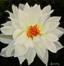 White Dahlia; 12x12 oil on canvas; commission piece