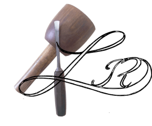logo , wooden mallet with carving chisel on top with a letter L above