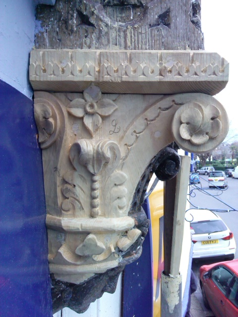 carving of a capital, Dartmouth, Victorian shop front, restoration by Laurent Robert Woodcarver
