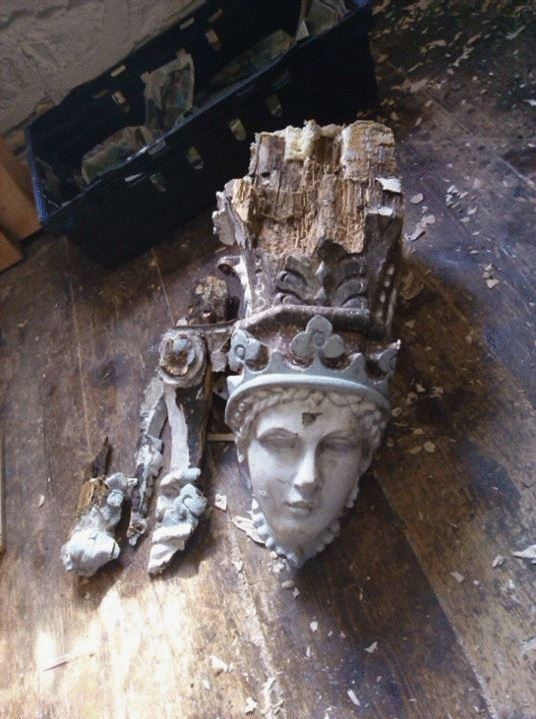 carved figurehead awaiting repair, Dartmouth, Victorian shop front, restoration by Laurent Robert Woodcarver