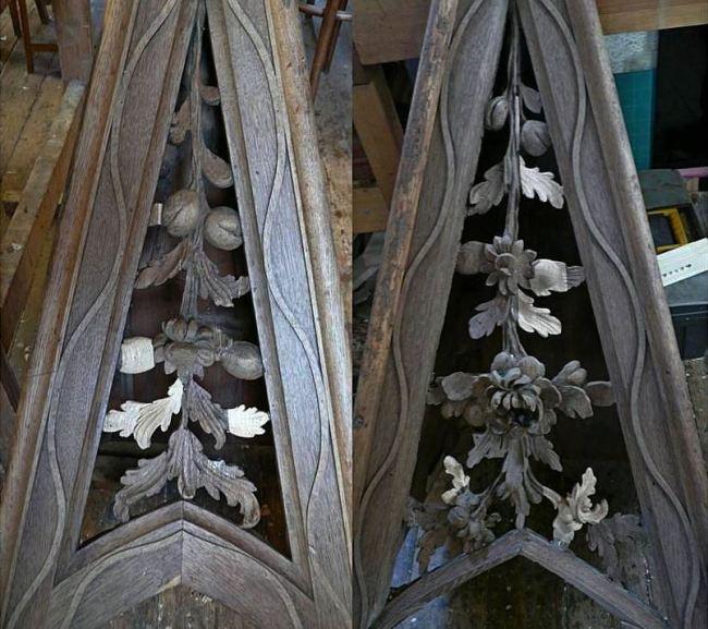 George England organ case restored by Laurent Robert Woodcarver, pediment carvings