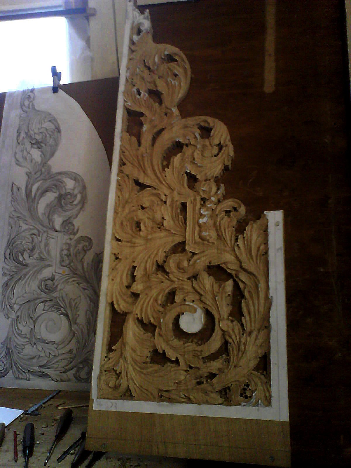 new organ case for Oxford by Laurent Robert Woodcarver, shaping console