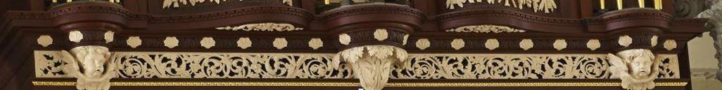 Richard Bridge pipe organ 1735, restoration carvings, frieze work after repairs, Laurent Robert woodcarver