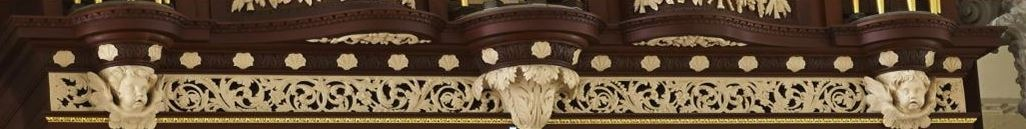 Richard Bridge pipe organ 1735, restoration carvings, frieze work after repairs, Laurent Robert woodcarver