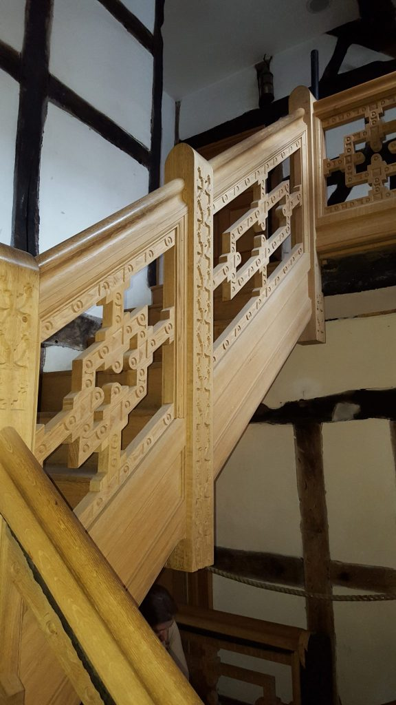 Staircasehouse in Stockport, reconstruction of staircases, top of stairs, new panelings, Laurent Robert woodcarving
