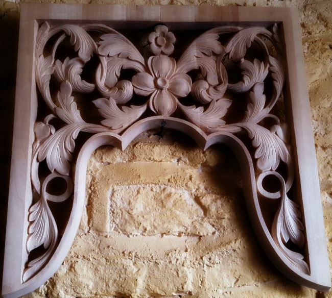 lime wood  pipe organ carving tower by Laurent Robert Woodcarver in Massachusetts