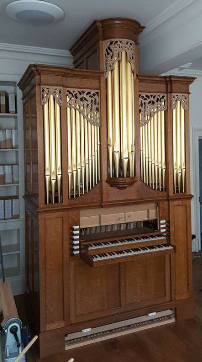 Westminster Abbey Song school, practice organ, Laurent Robert woodcarving