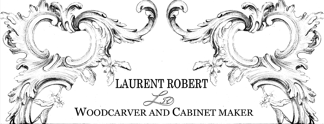 black and white drawing with letters Contact Laurent Robert Woodcarver