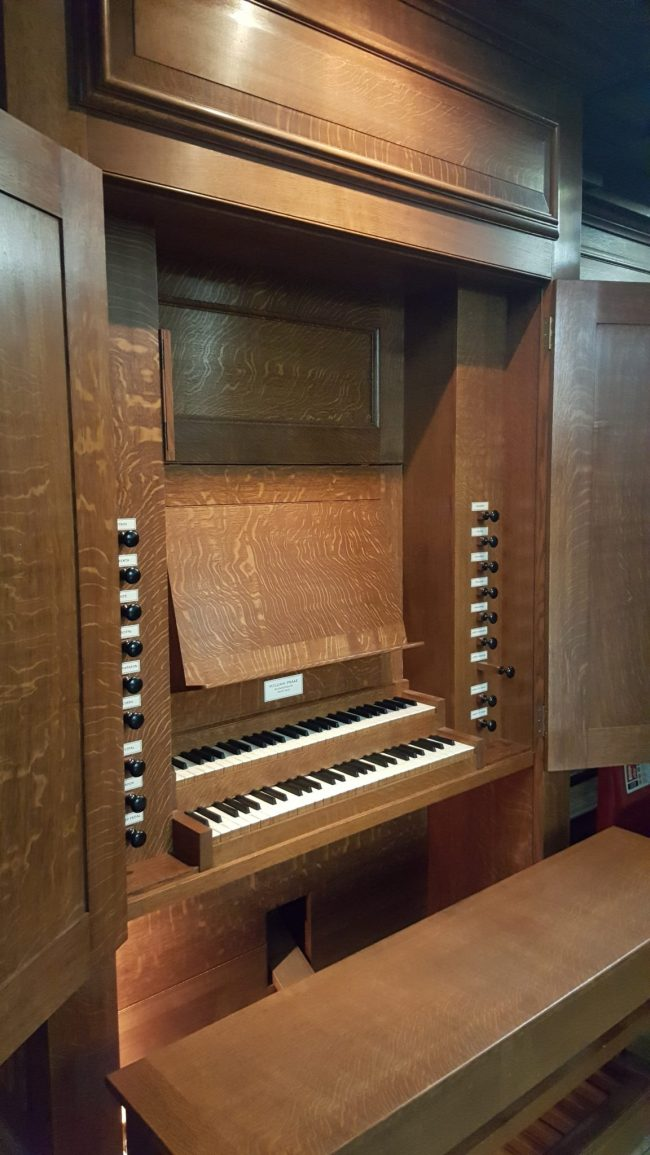 organ case console in oak, lincoln college oxford