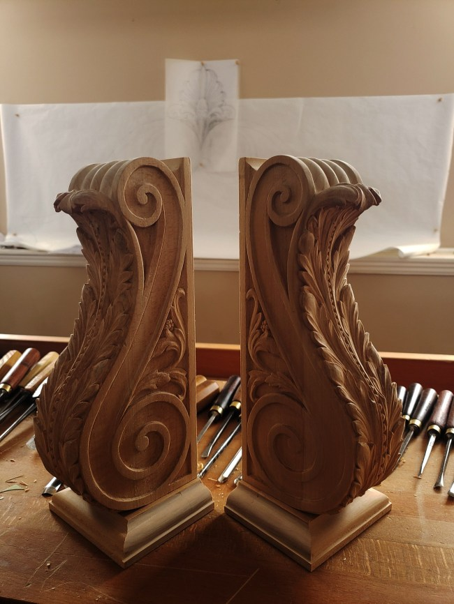 pipe organ sculptures for bruton church in williamsburg including two consoles carvings by laurent robert