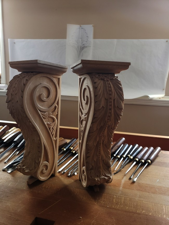 pipe organ sculptures for bruton church in williamsburg including two carved consoles by laurent robert