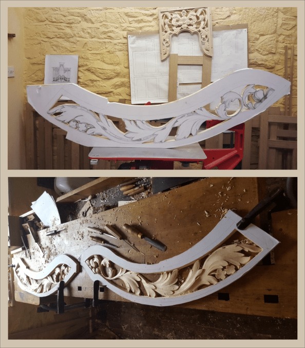 lime wood curved rail carvings, in Massachusetts, drawings by Laurent Robert Woodcarver